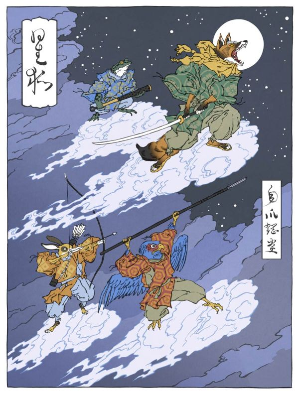 Video Game Characters In The Style Of Japanese Woodblock