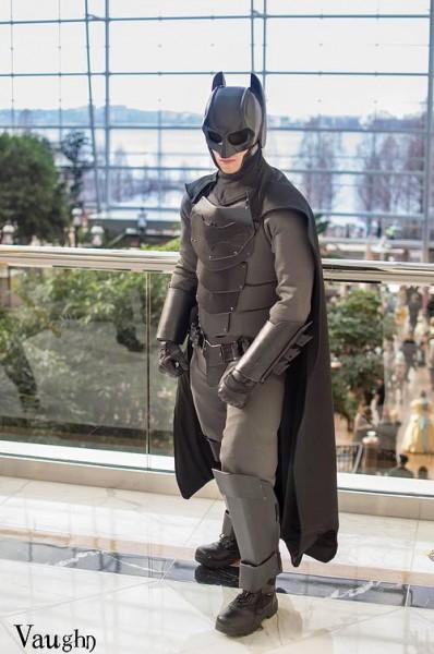 Jackson Gordon standing in his custom Batsuit
