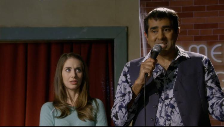 Alison Brie, left, and Jay Chandrasekhar as Gupta Gupti Gupta