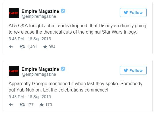 empire magazine john landis star wars tweet