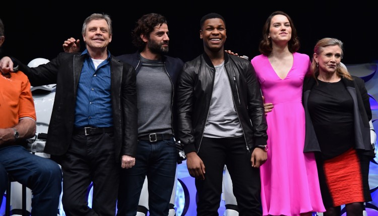 ANAHEIM, CA - APRIL 16: (L-R) Actors Mark Hamill, Oscar Isaac, John Boyega, Daisy Ridley and Carrie Fisher speak onstage during Star Wars Celebration 2015 on April 16, 2015 in Anaheim, California. (Photo by Alberto E. Rodriguez/Getty Images for Disney) *** Local Caption *** Mark Hamill;Oscar Isaac;John Boyega;Daisy Ridley;Carrie Fisher