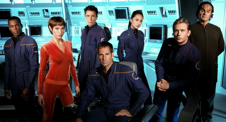 Star Trek: Enterprise Cast (from l-r): Anthony Montgomery, Jolene Blalock, Dominic Keating, Scott Bakula, Linda Park, Connor Trinneer, and John Billingsley. Source: Space / CTV Inc.