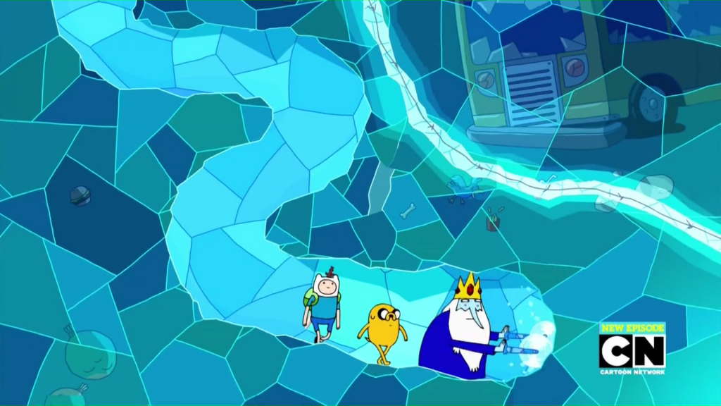 Finn, Jake, and Ice King tunnel to the Ice Elemental, Patience St. Pim